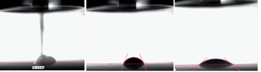 Figure 3. High speed camera enables to measure the initial pico¬liter drop contact angle right after the drop hits the surface and then the fast spreading and absorption phenomena.