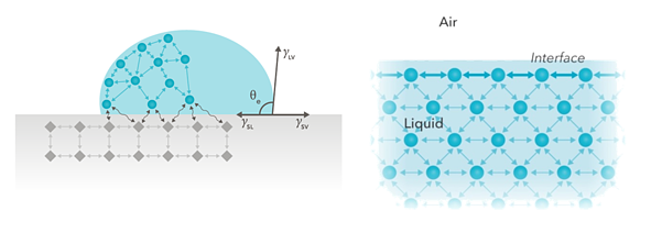 Figure 1. Forces at an interface originate from the fact that the molecules interact differently with surrounding molecules at the interface than those in the bulk.