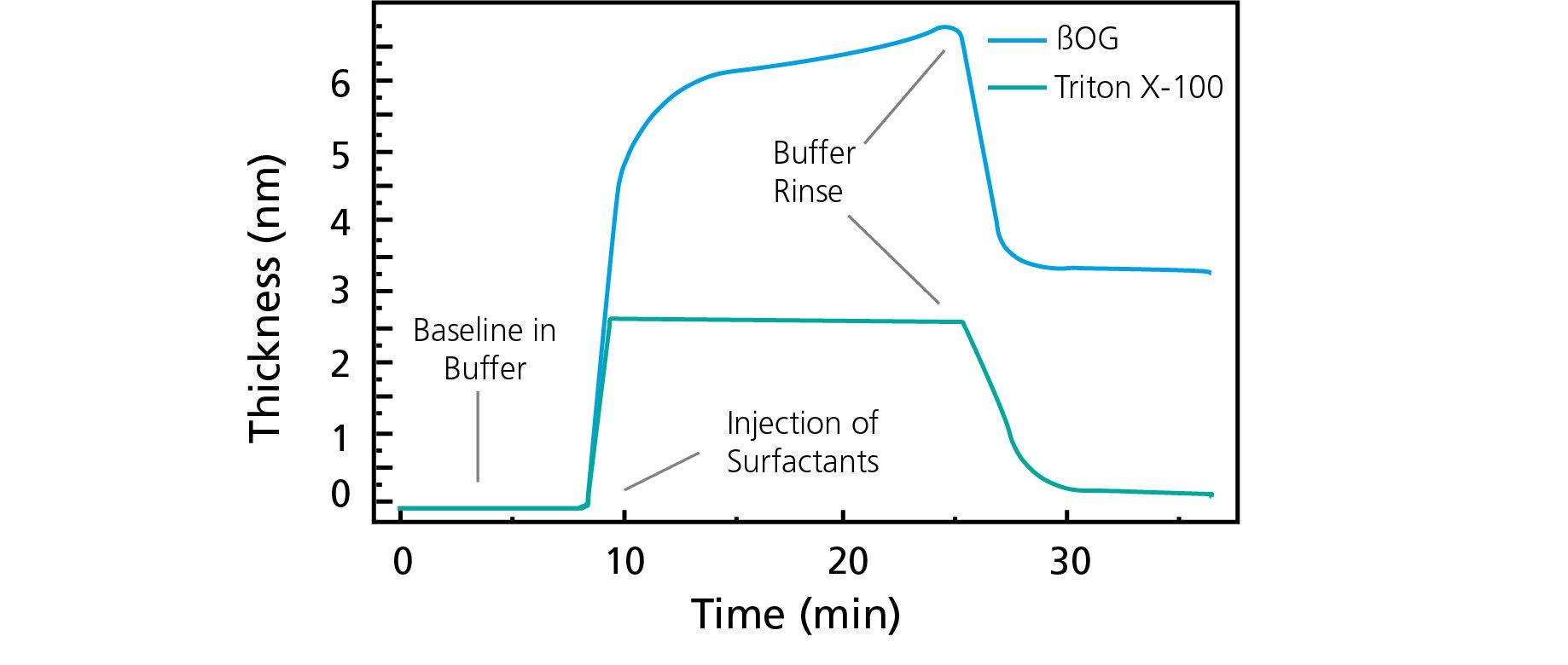 Surfactant adsorption Triton X-100 vs BOG